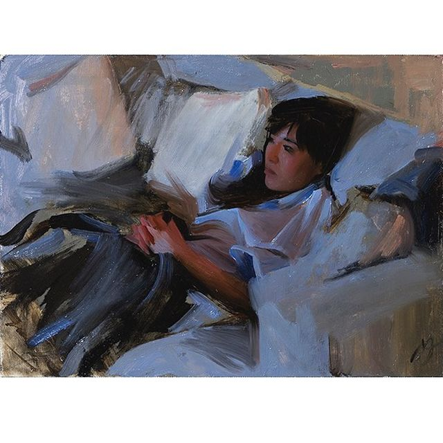 "image: ""Tv"", oil on panel, 33x24cm. Contact info@nickalm.com for inquiries.#oilpainting #art #konst #figure #sketch #tv by nickalmart"