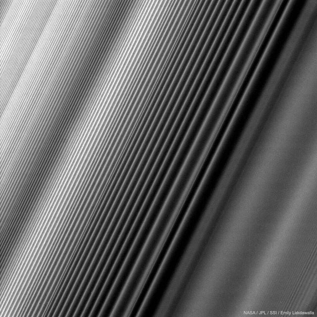 image: What causes the patterns in Saturn's rings? The Cassini spacecraft, soon ending its 13 years orbiting Saturn, has sent back another spectacular image of Saturn's immense ring system in unprecedented detail. The physical cause for some of Saturn's ring... by astronomypicturesdaily