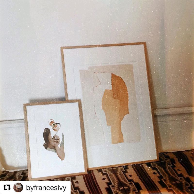 """image: My favorite poet has my original in her new apartment. Feel's like I'm there with her listening her wonderful poems. """" Why are you hiding inside my head? There must be other places to pester."""" and many many others... ?? @byfrancesivy by vintageart_originals"""