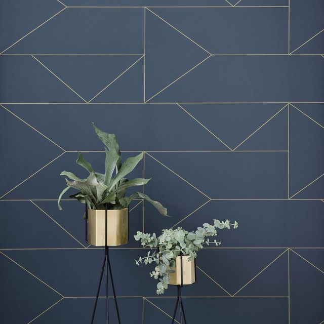 image: Lines...by Ferm Living.via: @designhunter.official #p_roduct•#product #productdesign #wall #wallpaper #danishdesign #denmark #geometric #darkblue #lines by product
