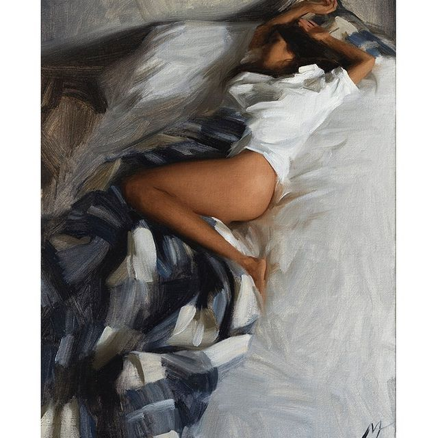 image: Oil on canvas. 40x54cm. Contact info@nickalm.com for inquiries.#art #contemporaryart #konst #oilpainting #figurative #arte #allaprima #bed #asleep #sleepingbeauty by nickalmart
