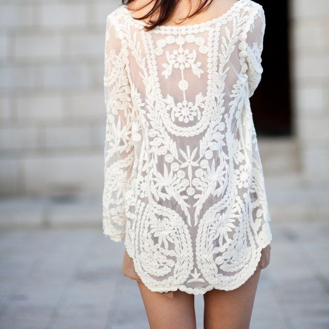 image: Cream Floral Crochet Tunic by rmuinelo