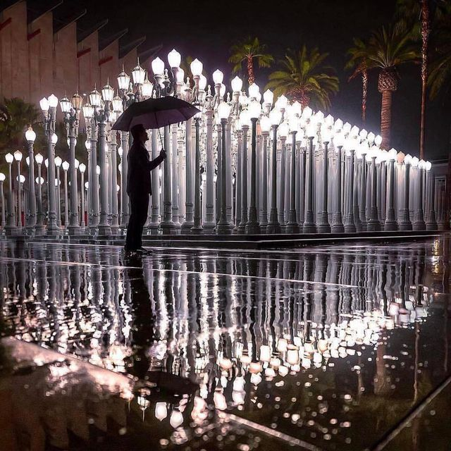 """image: Today we celebrate legendary artist Chris Burden (1946–2015). Born on this day, Burden created LACMA's @lacma iconic sculpture """"Urban Light"""" in 2008. Gathered into a whole, the artist described the streetlamps as, """"a statement about what... by ratedmodernart"""