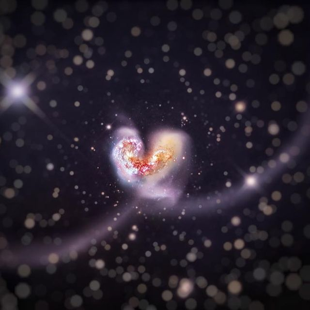"""image: The....""""A fool hath no delight in understanding, but that his heart may discover itself."""".Some 60 million light-years away in the southerly constellation Corvus, two large galaxies collided. But the stars in the two galaxies cataloged as NGC... by thehubblescope"""