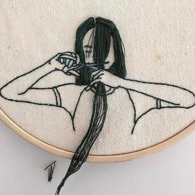 image: One of those bad hair days. Embroidery by @_______ism via @love.watts#visualfodder ? by visualfodder