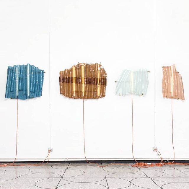 """image: BARRACHE X Paolo Gonzato.••""""Milan-based designerPaolo Gonzatotook inspiration from corrugated iron roofs and industrial irons when designing this collection of sculptural glass lights. The Baracche collection – meaning """"shacks"""" in Italian – was... by producture"""