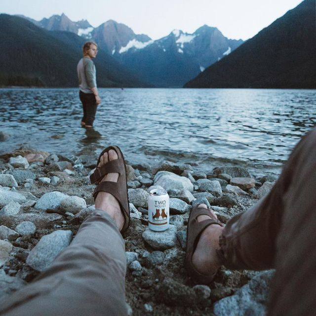 image: Living near Jones Lake is a dream. I love being able to call up friends at a moments notice to head up there for a quick dip and a @twowolvesbeer. Now available in BC and AB #explorebothsides #sp by itsbigben