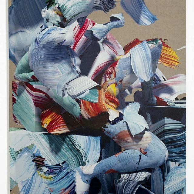 image: Matthew Stone innovates upon the most traditional medium of painting by digitally rendering multicolour cgi brushstokes, morphing them into anything-but-classical-looking figures and printing the semi-sculptural results on canvas.#saatchigallery #paintin by saatchigallery