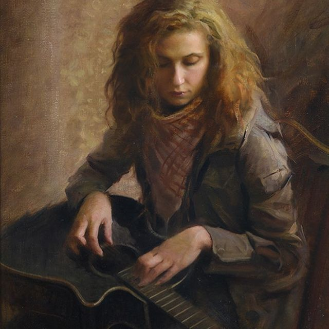 "image: ""A different approach"", oil, 54x70cm, 2010.#oilpainting #contemporaryart #guitarplayer by nickalmart"