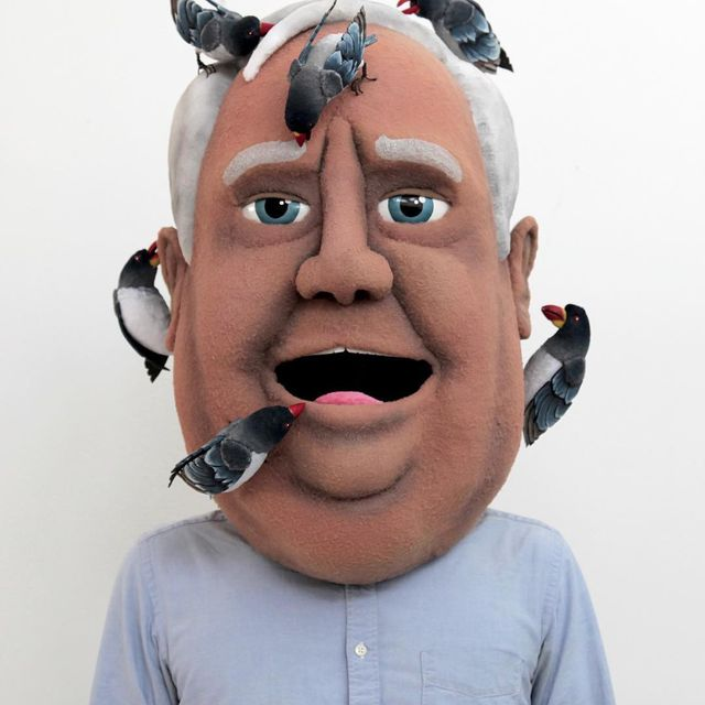 image: Ian Langohr @hand.sewn.heads - Portrait of Grandpa with Oxpeckers (foam/fabric/plastic) 2010 #ianlangohr by durmoosh