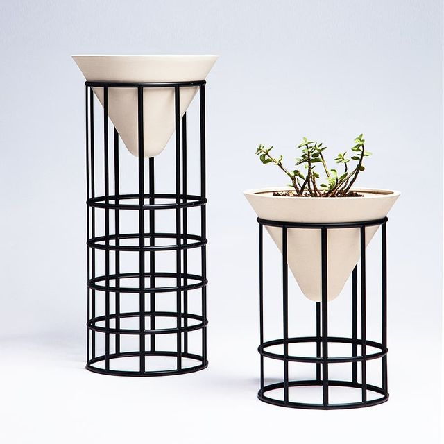 """image: ?   Daily Inspiration   ?VALLEY PLANT STANDS X MPGMB.••""""Unglazedstoneware and powder-coated aluminum plant stands that is formed by the harmony of geometry and lines.""""••@mpgmb by producture"""