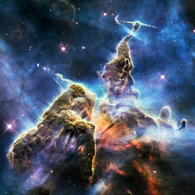 """image: Dust Pillars in Carina....""""Be not deceived; God is not mocked: for whatsoever a man soweth, that shall he also reap."""".Inside the head of this interstellar monster is a star that is slowly destroying it. The monster, on the right, is actually an... by thehubblescope"""