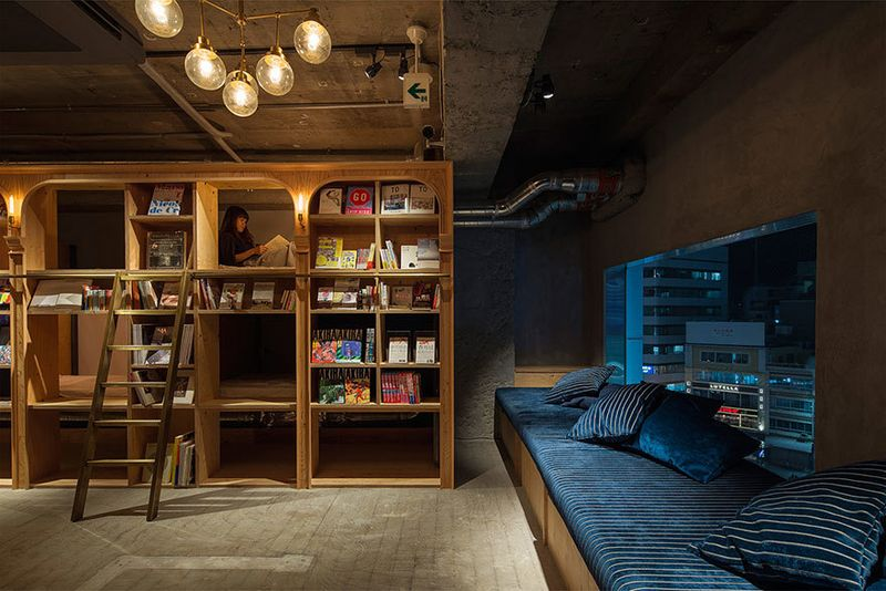 image: Bookstore-Themed Hotel by wastedyouth