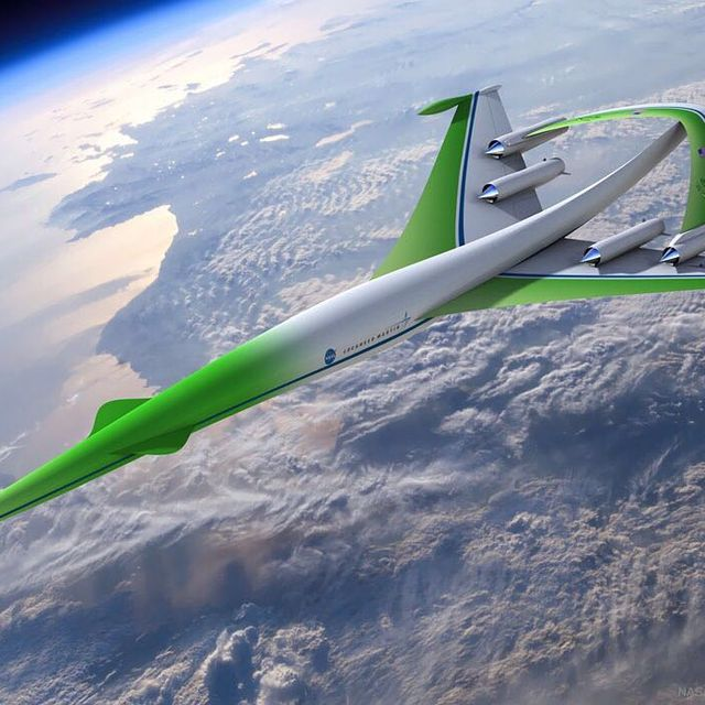 image: What will passenger airplanes be like in the future? To help brainstorm desirable and workable attributes, NASA sponsors design competitions. Shown here is an artist's depiction of a concept plane that was suggested in 2010. This futuristic plane would... by astronomypicturesdaily