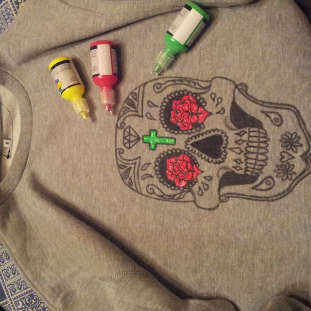 image: Painting the mexican Skull sweater...... by fashioniskillingme
