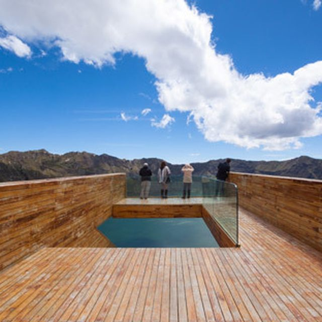 image: High-altitude viewpoint perches over a volcanic crat... by hallowedbronze