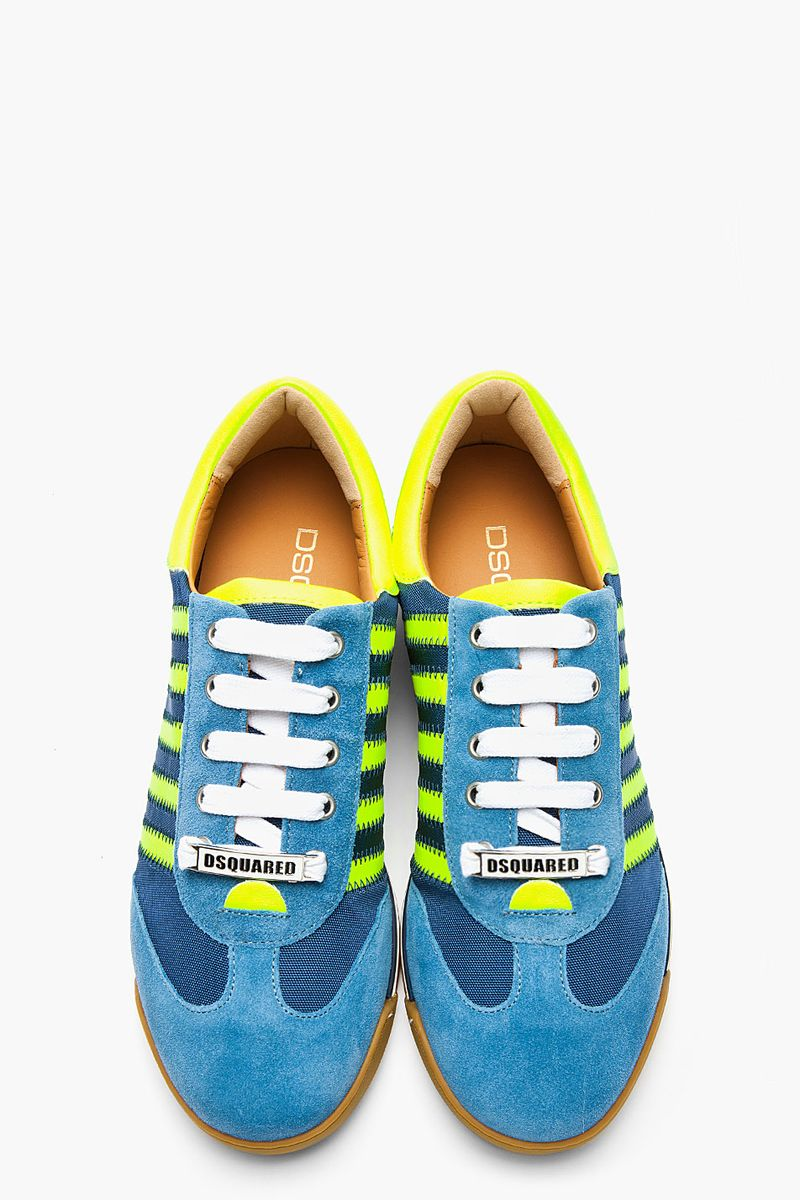 image: Blue & Neon Yellow Striped Tecnico Sneakers by carlopuig