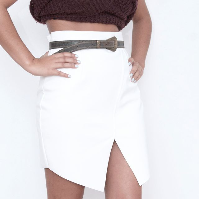 image: wrap leatherette skirt by baena
