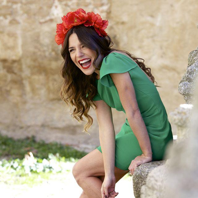 image: RED FLOWERS + GREEN DRESS | PEEPTOES by peeptoes