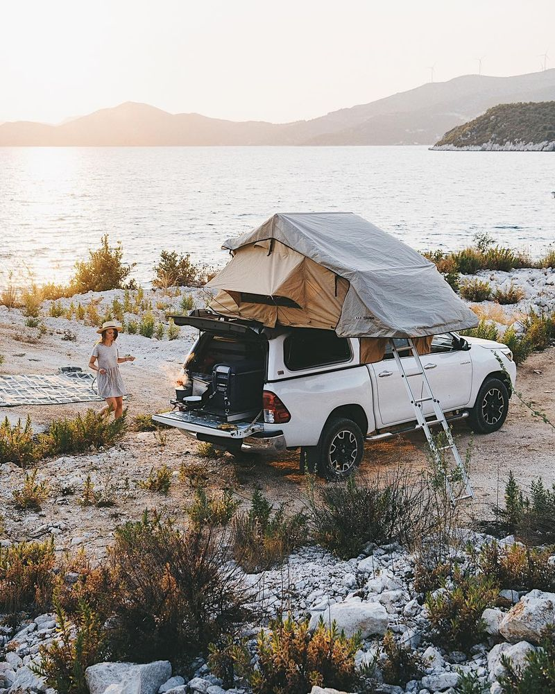 image: Why do I love camping so much? Give me a private beach, a rooftop tent, a solar shower warmed by the burning sun and mountains in the background and I'm a happy man. Of all the nights since the beginning of this trip, the ones spent sleeping in the... by lebackpacker