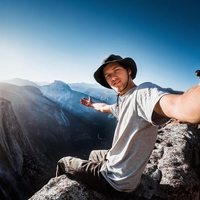 image: the spot where i sat and waited for the sun to rise over half dome ? my 4000ft view point wasn't bad as long as i didn't look down #eyesonthehorizon by kyleohlson