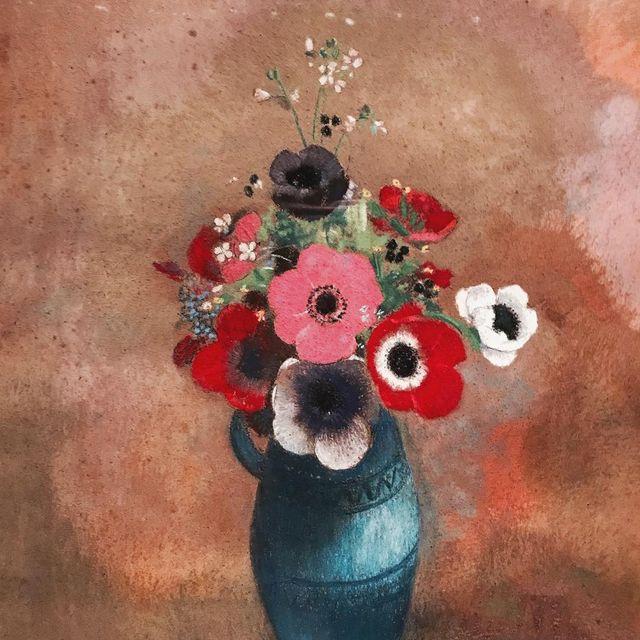 """image: L' art du pastel ? """"Anémones dans un vase bleu"""" Odilon Redon #parismemories #goodmorning by lulumai"""