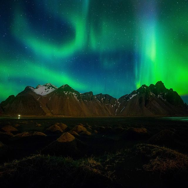 image: Northern lights over Vestrahorn, Iceland. #thorseanworkshop by seanparkerphotography
