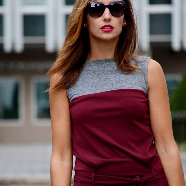 post: el blog de silvia   Bordeaux jumpsuit - Vogue Eyewear by elblogdesilvia