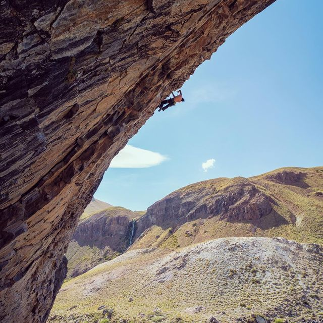 "image: One more from the Valle de los Condores in Chile of @alexhonnold on a wildly steep and classic  7c.  What are my chances of doing it first try I asked my buddy @mattsegal who had just lowered down from the route?? He responded, ""not very good!"" Alex... by cedarwright"
