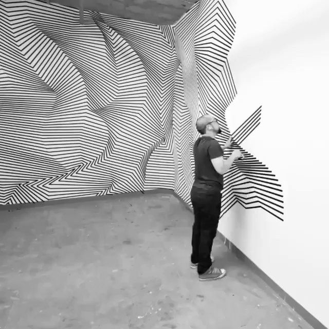 image: Tape art installation by Darel Carey #darelcarey @darelcarey by avantarte
