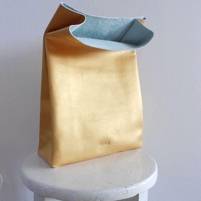 image: golden leather bag by heymercedes