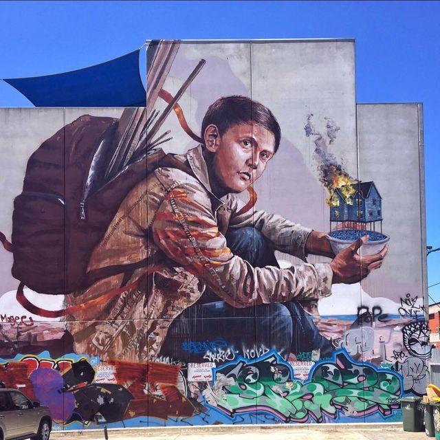 image: @fintan_magee wall in Melbourne, Australia ?? (2016)•#fintanmagee #streetartofficial #streetart #publicart #urbanart #painting #contemporaryart #melbourne by streetart_official