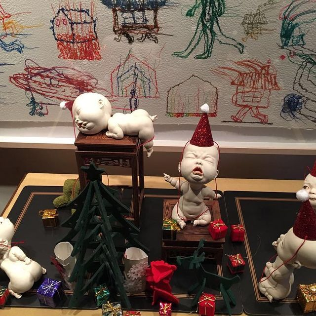 image: Merry Christmas!!! A different version of my previous work 'bReAK tHE ruLeS'. So happy to receive this picture from the owner of this work. All the babies look enjoying the festival.#arts #sculpture #ceramics #JohnsonTsang by johnsontsang
