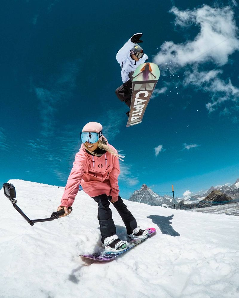 image: Send it Sundays with some BTS action from the @dopesnow 2018 shoot! The whole range just went live so go check it out! ?? #GoPro #DopeSnow #snowboarding by chrisrogersza