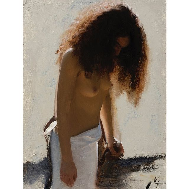 image: Oil on panel, 21x29,7cm.#oil #art #konst #contemporary #figurative #topless by nickalmart