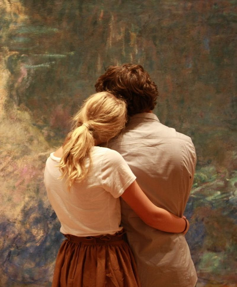 image: A couple admires Monet's Water Lilies at MoMA by somewhereiwouldliketolive