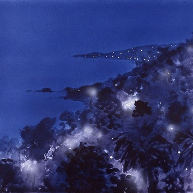 image: An electrified coast emerges from the inky blue beyond in Peter Alexander's tropical Neo-Expressionist landscape 'Ceanothus' of 2001. by saatchigallery