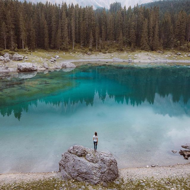 image: Right after taking a dip in the lake. Not referring to myself though haha // Lago Di Carezza, Dolomites about 5 weeks... by itsbigben