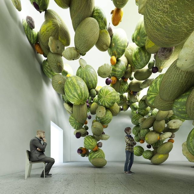 """image: Installation """"mix"""", vegetables parametric multiplication, walls and boundaries with fake vegetables as elements by townandconcrete"""