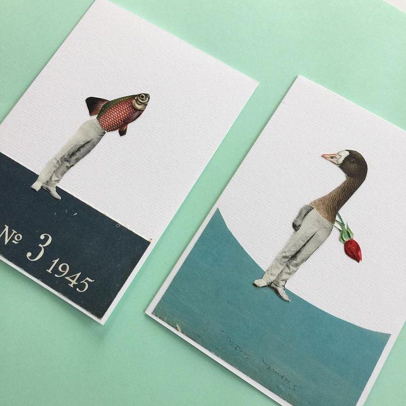image: Hurry Up! / Collage Art Cards #collageart #surrealistart #junkart by vintageart_originals
