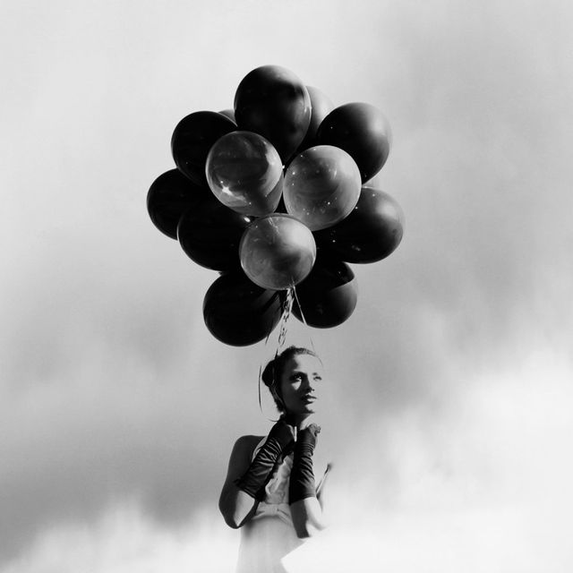 image: Girl with Black Balloons by rmuinelo