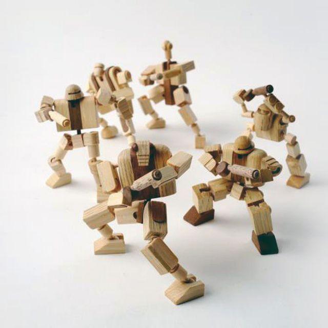 image: mokuseiderz: recycled drumstick robots by victoriakratoch