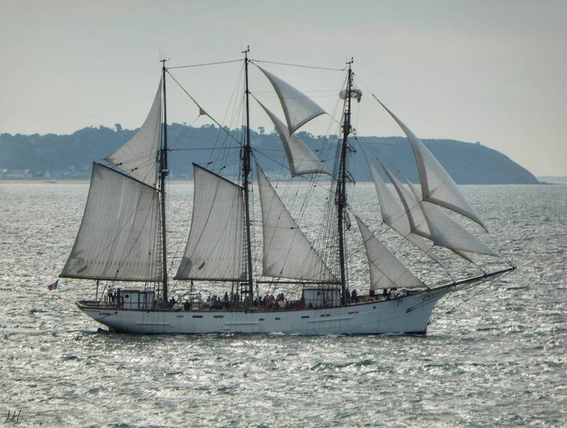"""image: This boat is """"Le Marité"""" it's the last french Newfoundland fishing vessel, a beautiful white 3 masted, 46m long with 15 sails ( 650m2 ). """"Le Marité"""" is born in France in 1921, in Fécamp - France, and his actual home harbour is Granville in France ??.?... by sailing_boats"""