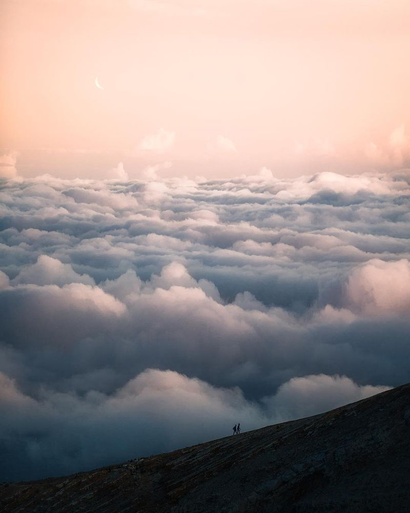 image: Hiking above the clouds of Ijen crater. Reminds me of Frodo and... by josiahwg