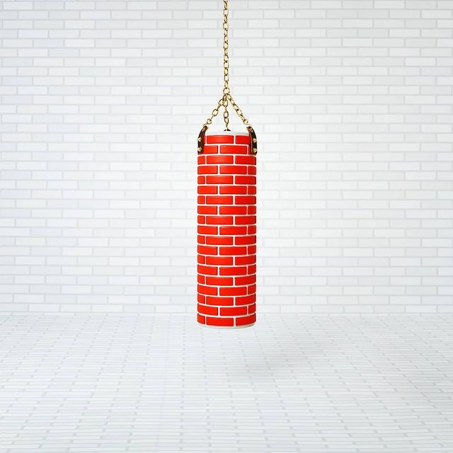 """image: PUNCH A WALL X Studio Job.••""""Design duo Job Smeets and Nynke Tynagel fromStudio Joboffered aseries of cartoon-like objectsfor Collectible, exhibited byGufram's spin-off company, SuperGufram. A punching bag patterned with bricks was among the... by producture"""
