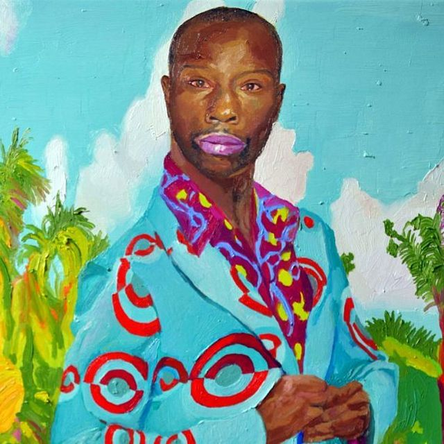 image: Dandy, detail. #oilpainting #contemporaryart #africa #xevisola #suit #colorful #seventees by xevisola