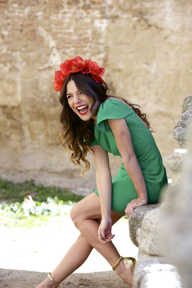 image: RED FLOWERS + GREEN DRESS   PEEPTOES by peeptoes