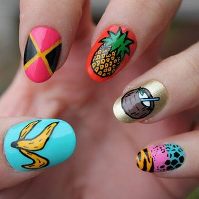 image: nail art, fruits, pineapple, banana, coconut by nasti