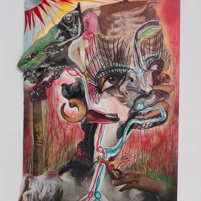 image: Happy birthday to Kenyan artist Wangetchi Mutu, born on this day in 1972! This mixed media collage is one of thirteen from her 2012 'Family Tree' series. by saatchigallery