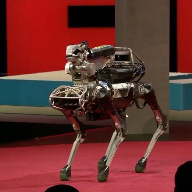 image: This is Spot. Spot is a very good boy. He can deliver packages, open doors and play dead. Marc Raibert, founder of Boston Dynamics, is currently developing a new generation of animal-like robots like Spot that can carry boxes, lift hundreds of pounds,... by ted